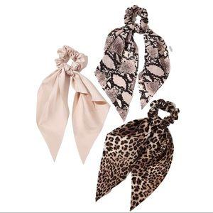 🆕Snakeskin Leopard Print Scrunchie Scarf Set NWOT